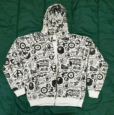 Authentic Bape A Bathing Ape Hoodie Jacket Black & White Sweatshirt Mens Large L