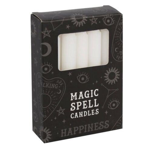 12 White Magic Spell Candles For Happiness Ritual Alter Gothic Pagan Witch Wicca