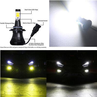 2x Auto Car Super Bright LED Fog Light Bulb White & Yellow Dual Colors Lamps 12V