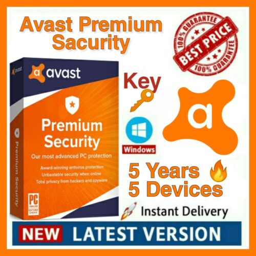 Avast Premium Security 2020 ✅ [5 Years - 5PC] LICENSE KEY GENUINE✅FAST DELIVERY✅