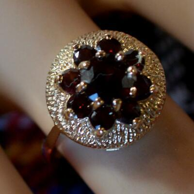 9 ct GOLD second hand Garnet cluster ring