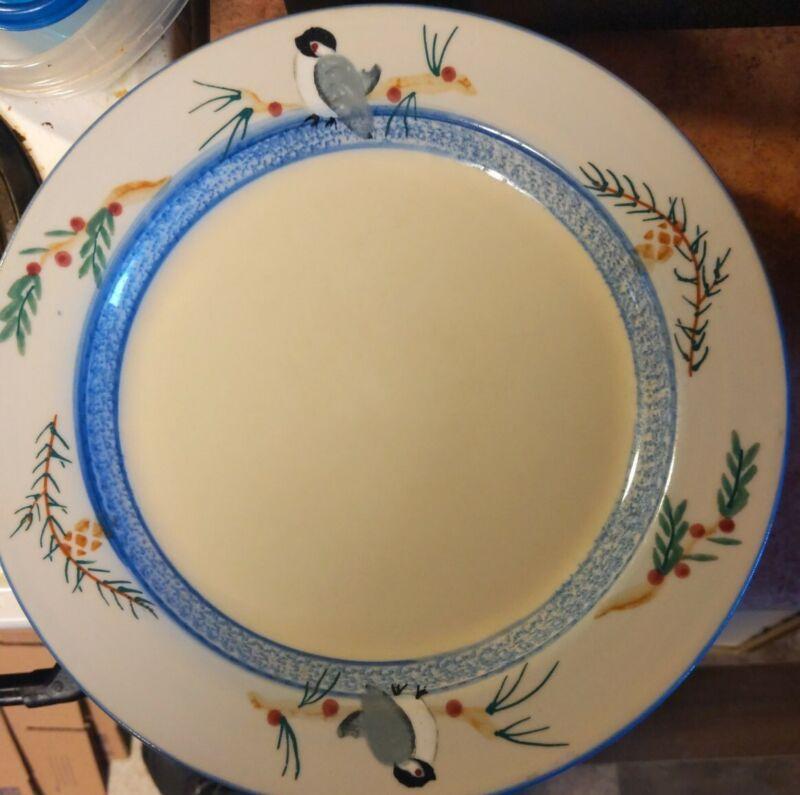 Lot of 7 Hartstone Pottery OHIO USA Chickadee Bird 11.25 Dinner Plate Blue Gray