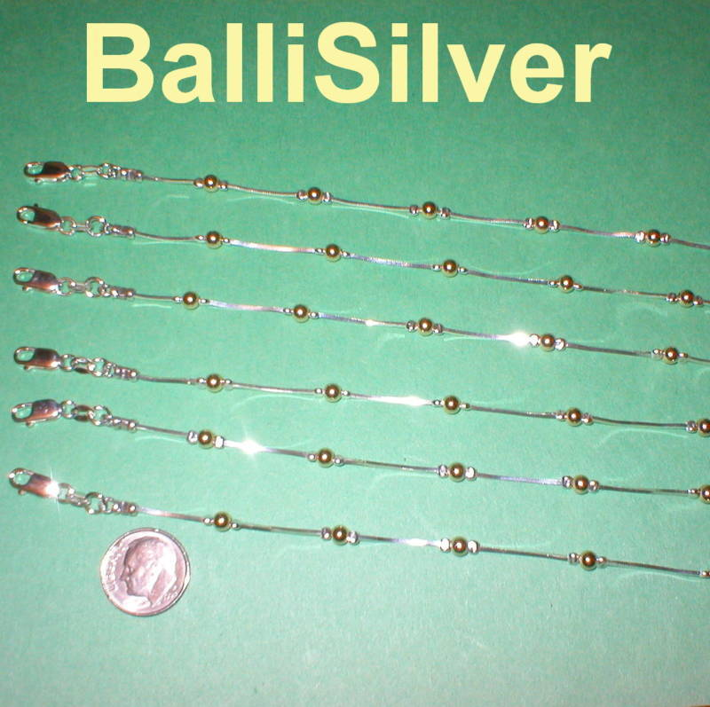 6 Sterling Silver and Gold Filled Beads BRACELETS Lot