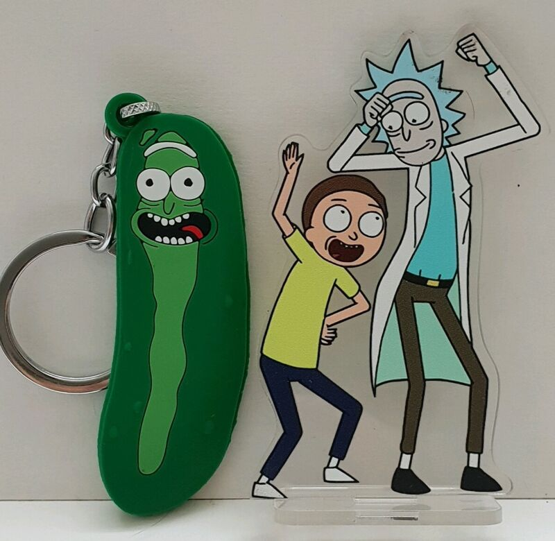 RICK+AND+MORTY+FIGURE+PICKLE+RICK+KEYRIN+ACRYLIC+DISPLAY+STAND+DOUBLE+SIDED+9CM+