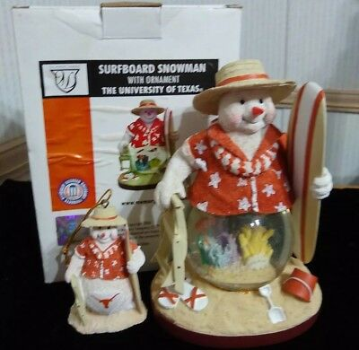 University Of Texas Snowman Snow globe Figurine Ornament Memory Co 2006](Texas Snowman)
