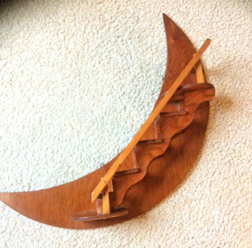 Vtg Hand Crafted Wooden Crescent Moon Stairway Mid Century Wall Hanging Shelf