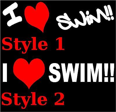 I Love Swim Decal Sticker Freestyle Backstroke 2 For 1