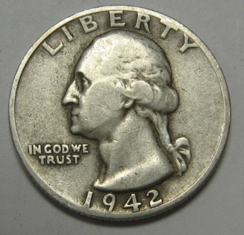 1942 Washington Silver Quarter in Average Circulated Condition Priced Right