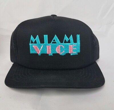 Vintage 1980's BRAND NEW Miami Vice Black Mesh Trucker Baseball Hat Cap Snapback