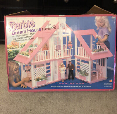 VTG 1985 PINK BARBIE DREAMHOUSE -Complete With Some Furniture & Box - See Desc