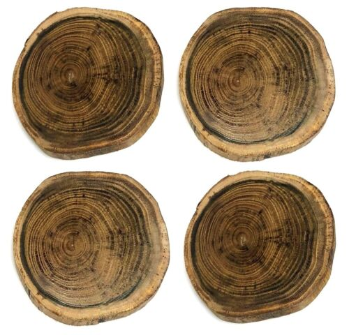 Rustic 4 Set Non Rotting Black Locust Wood Slices Drink Coasters Bar Home Glossy