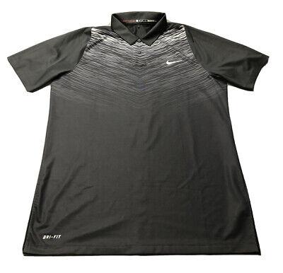 Nike Tiger Woods Collection Dri-Fit Golf Shirt Polo (M, Black, Geometric)(P6)