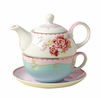 Jusalpha Fine Bone China Teapot for One, Rose Teapot and Sau