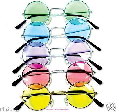John Lennon Sunglasses Round Hippie Retro Shades  Colored Lenses Free Shipping (Hippie Shades)