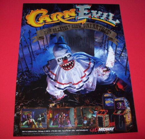CarnEvil Arcade FLYER 1998 Original NOS Video Game Killer Clowns Horror Art It