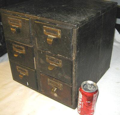 ANTIQUE OAK WOOD BRASS PLAQUE FOOD RECIPE FILE STORAGE DRAW CABINET HOLDER STAND Brass Antique Storage Cabinet