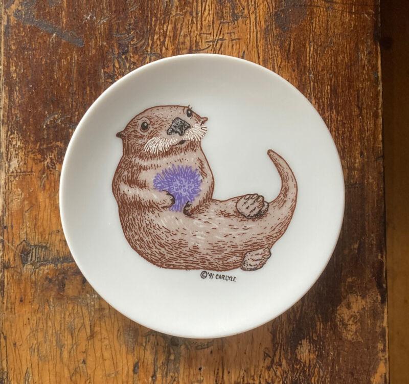"""Vtg 1991 """"Sea Otter & Purple Anemone"""" by Carlyle RARE Cute Mini Plate Pin Dish!"""
