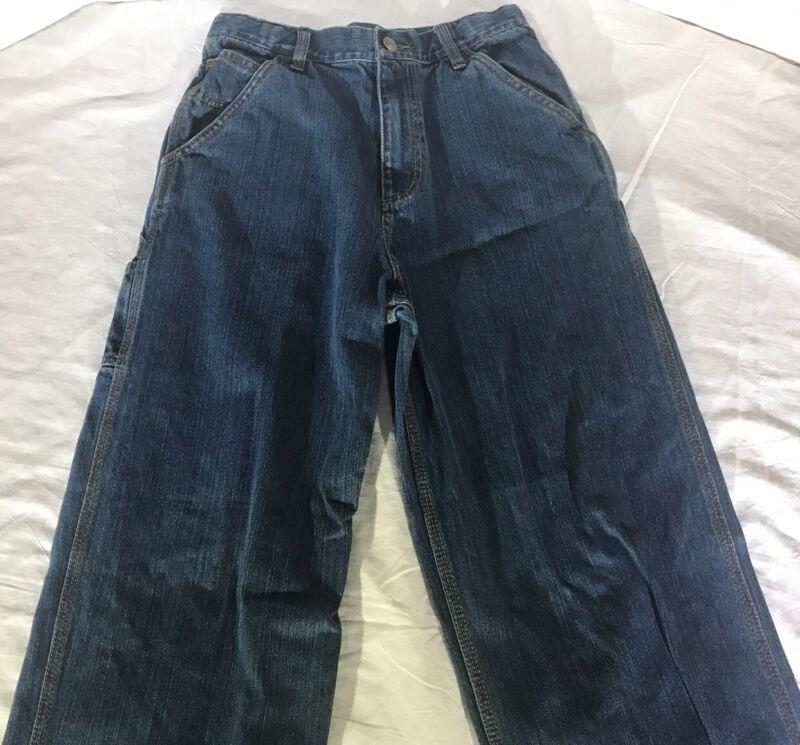 Carhartt Carpenter Dungaree Fit Work Pants 100% Cotton Denim Kids Size 16 EUC