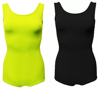 Low Back Bodysuit (BLACK & LIME GREEN LIGHTWEIGHT LOW SCOOP BACK STRETCH BODY SUIT. FREE SIZE)