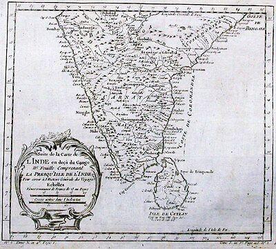 Antique map, Suite de la carte de L'Inde en deca du Gange