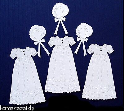10 Baby Die Cuts Baptism Christening Robe/Dress&Bonnet Religious Cards Invite
