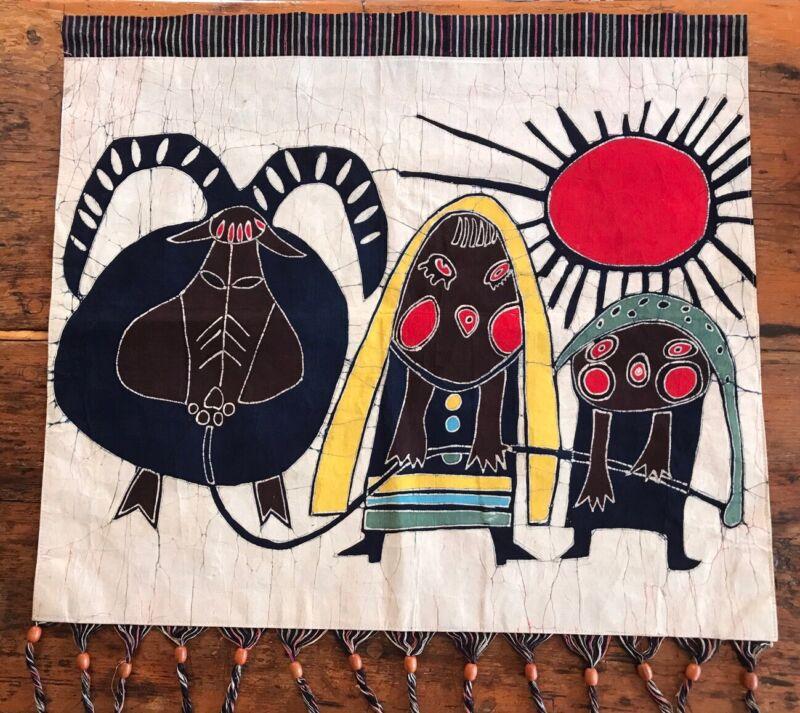 Vintage Mid Century Modern Folk Art Abstract Tapestry Sheep Goat Native American