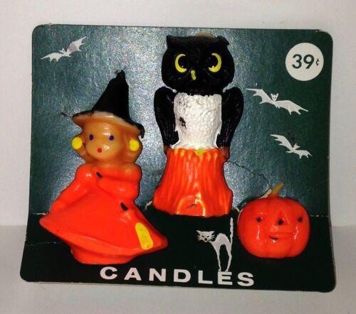 Vtg Halloween Gurley Candles WITCH OWL ON STUMP JOL Original Pkg Holder Unburned