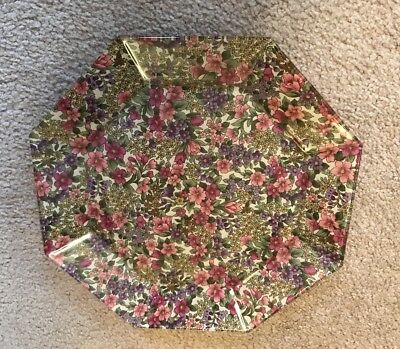 "FLORAL THEME OCTAGONAL 10"" GLASS PLATE VINTAGE REVERSED DECOUPAGE"