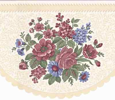 ROUND LASER CUT VANILLA FLOWER WALLPAPER BORDER B0654