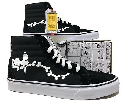 Vans SK8-Hi Peanuts Snoopy Black/White Bones Mens Lifestyle Shoes Size 9 (NEW)