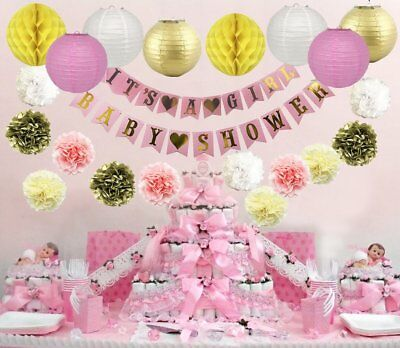 Baby Shower Decorations For Its A Girl Party Banner Pink Favor Birthday Supplies