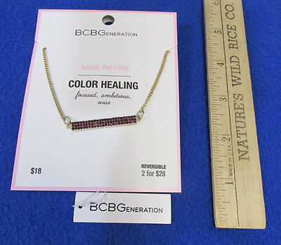 Bcb Generation Color Healing Necklace Share The Love Gold Tone Metal Bar Nos