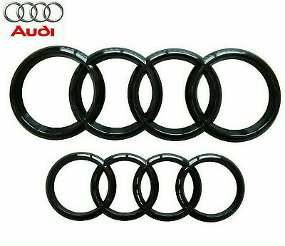 Audi Gloss Black Front Rear Grille Bonnet Badge Rings Q3 - Q7 A6 RS6 285mm 216mm