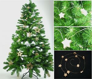 3-x-Gold-Wooden-Star-Wire-Garland-Wreath-Christmas-Xmas-Tree-Hanging-Decoration