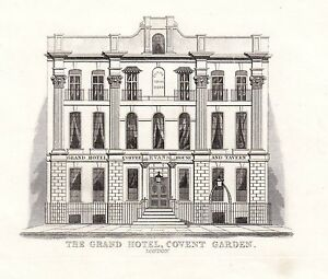 1840-VICTORIAN-PRINT-THE-GRAND-HOTEL-EVANS-COVENT-GARDEN-LONDON