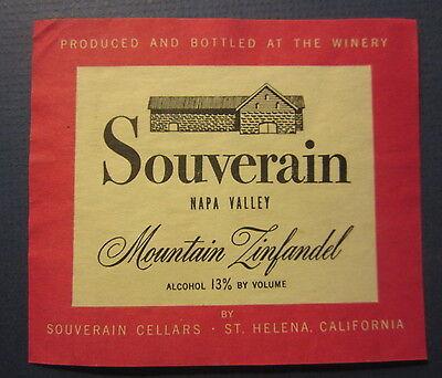 Old - SOUVERAIN Napa Valley Mountain ZINFANDEL - WINE LABEL -  St Helena CA.