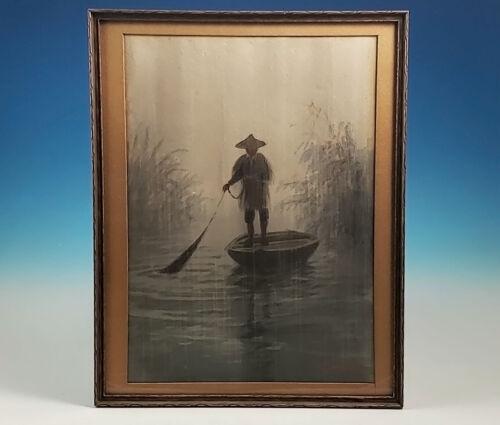 Original Eizo Kato Watercolor Painting Japanese Fisherman In Rain Nihonga Listed