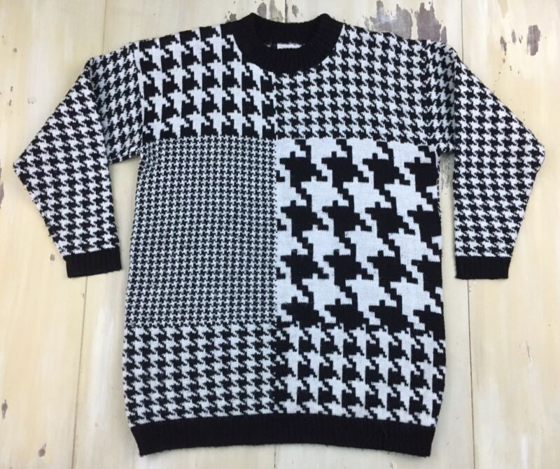 TAKE NINE: Vtg 80s-90s Black & White Houndstooth Acrylic Maternity Sweater, L-XL