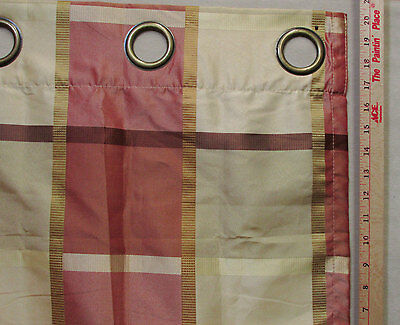 Gold Shimmer Curtains (Single Window Curtain Panel Large Grommet Tan Gold Red Brown Check Plaid)