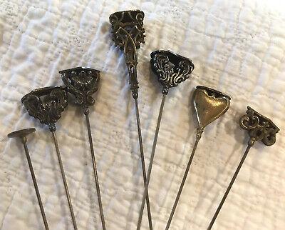 7 Vintage/Antique Victorian Hat Pins Gold-Tone Silver-Tone Enamel Ornate Floral