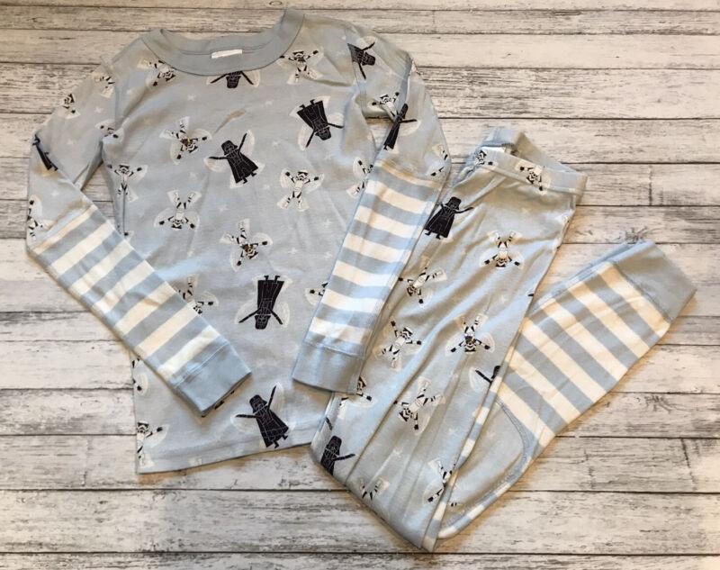 Hanna Andersson Blue Star Wars Winter Snow Angels Pajamas Long Johns 140 Cm 10 Y
