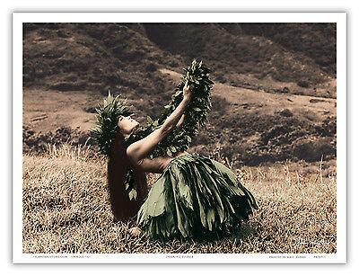 Offering Pele Hawaiian Hula Dancer Vintage Art Poster Print