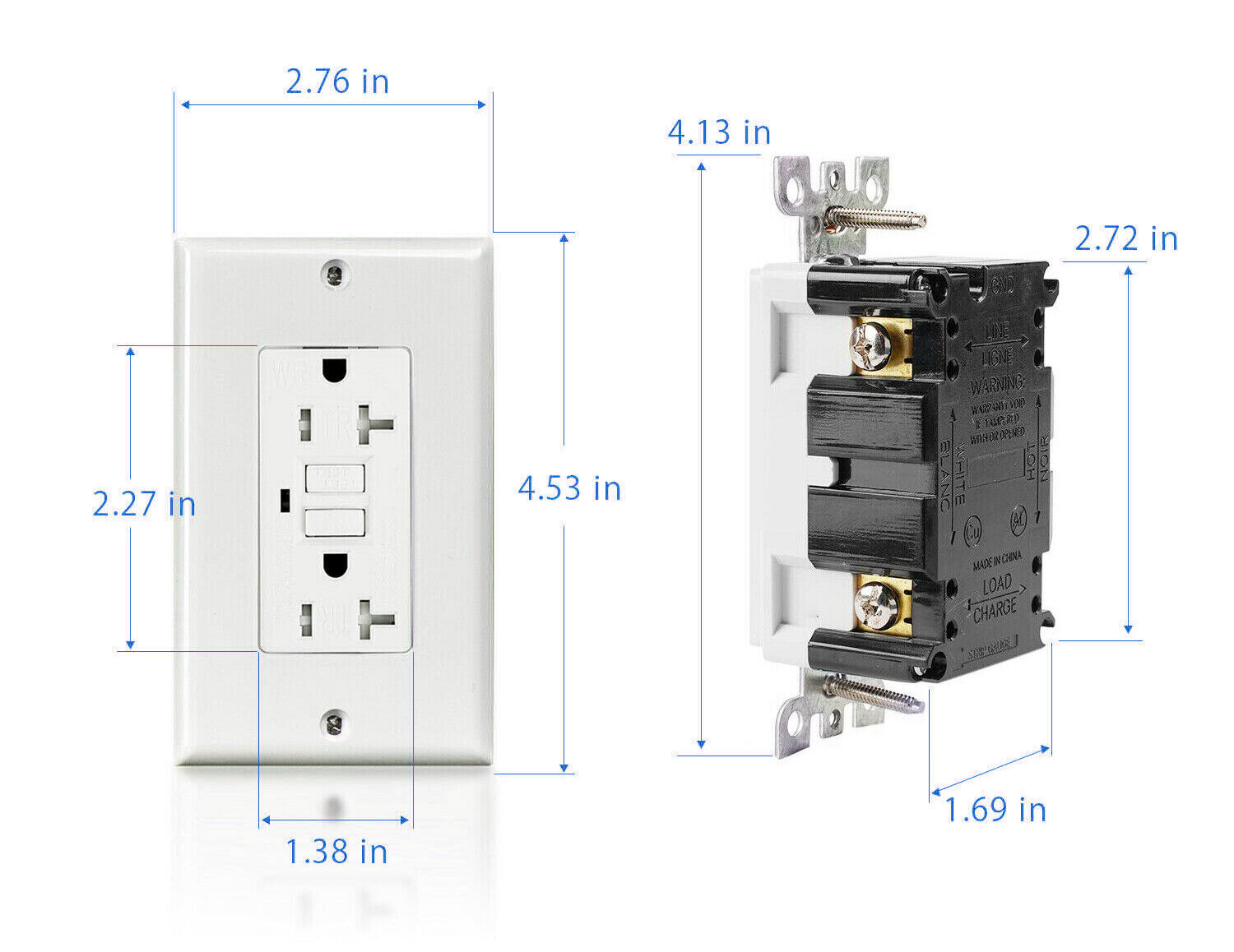 15A / 20A GFCI Safety Outlet Receptacle Tamper & Weather Resistant - White UL 4