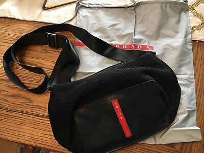 Authentic PRADA Sport CrossBody Shoulder Bag Black Red Nylon Mesh Vntg Dustcover