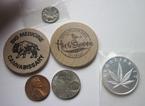 Lot Marijuana Cannabis Pot  .999 Silver Bullion Coins Wooden Nickels Hobo Penny