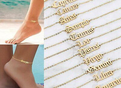 Women Gold Anklets Simple Letters Twelve Constellations Ankle Bracelet Jewelry Anklets