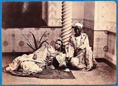 vintage large photo native arab harem girl servant coffee ethnic Africa c 1875 p - Arab Harem Girls