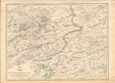 1863  LARGE ANTIQUE MAP - DISPATCH ATLAS- LAKES OF KILLARNEY AND SURROUNDING COU