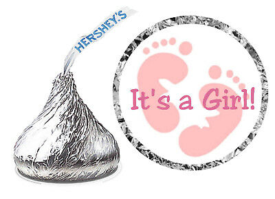 108 ITS A GIRL PINK FOOTPRINTS BABY SHOWER PARTY FAVORS KISSES LABELS STICKERS - Baby Shower Party Favours