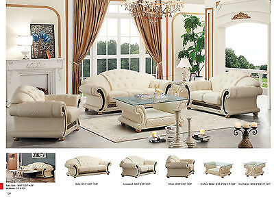 ESF Furniture Apolo Living Room Sofa and Loveseat in Ivory Italian Leather